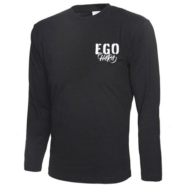 Long Sleeve Black EGO T-shirt Front